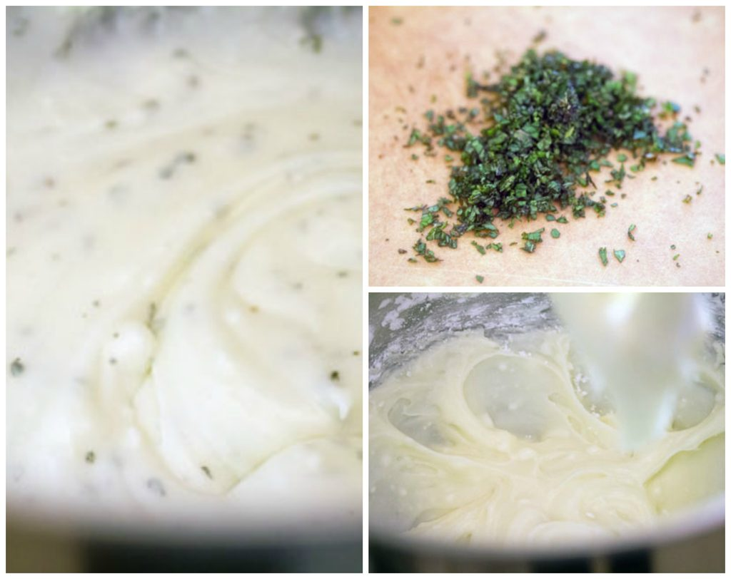 Collage showing process for making goat cheese buttercream, including chopped mint on cutting board, butter and goat cheese whipped together in mixing bowl, and frosting prepared in mixing bowl