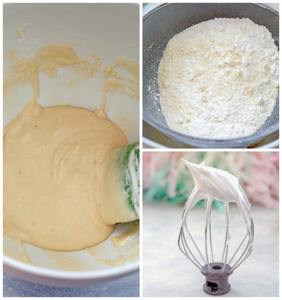 "Collage showing almond flour and confectioners' sugar being sifted, stiff egg whites on beater, and macaron batter in bowl for ""macaronage"""