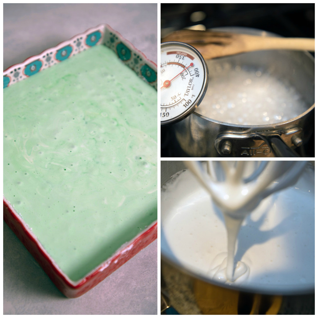 Collage showing process for making mint white chocolate marshmallows, including marshmallow mixture coming to heat in saucepan, marshmallow mixture in mixer, and green mint marshmallows setting in baking dish