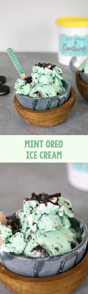 Mint Oreo Ice Cream-- this ice cream is eggless and the perfect simple-to-make frozen summer treat. It's incredibly easy! | wearenotmartha.com