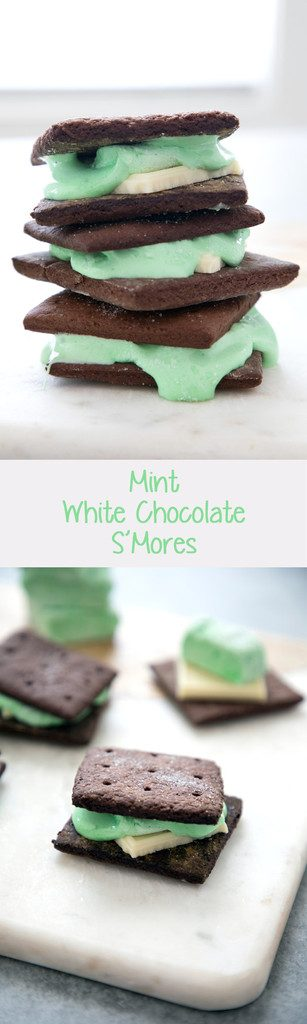 Mint White Chocolate S'mores -- Homemade marshmallows and homemade chocolate graham crackers make for the ultimate s'mores | wearenotmartha.com