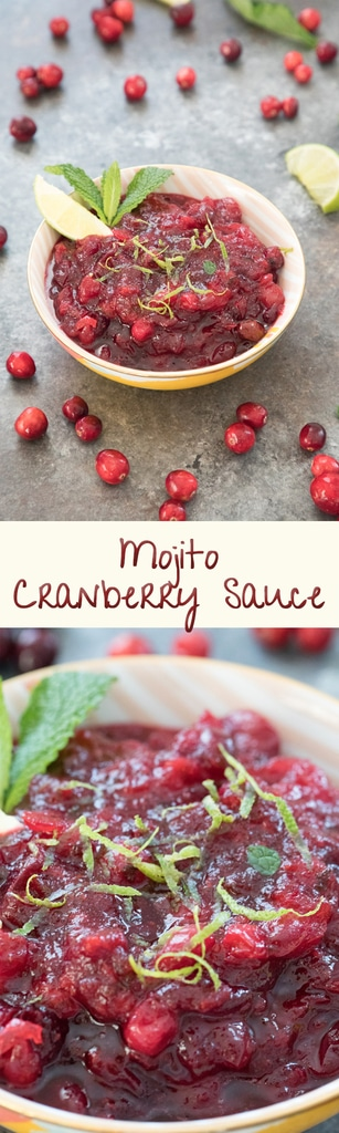 Mojito Cranberry Sauce -- A cocktail-inspired cranberry sauce made with rum, mint, and lime juice and perfect for your Thanksgiving or Christmas holiday meal! | wearenotmartha.com