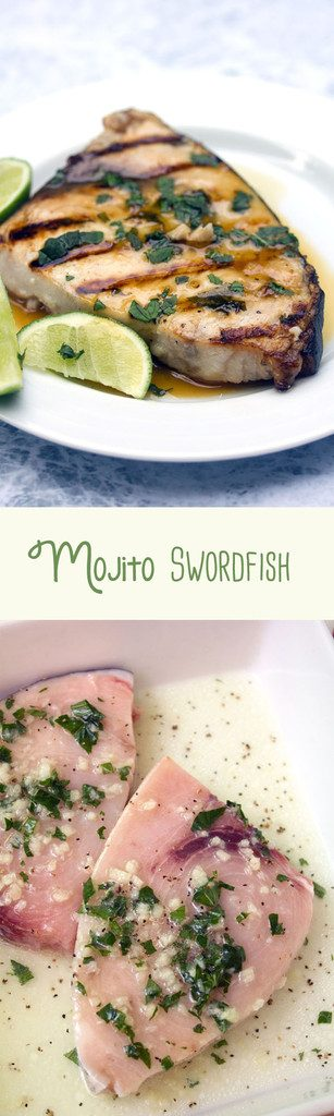Grilled Mojito Swordfish -- This classic summer cocktail is best served as a marinade for your fish... Fine, and in a glass, too! | wearenotmartha.com