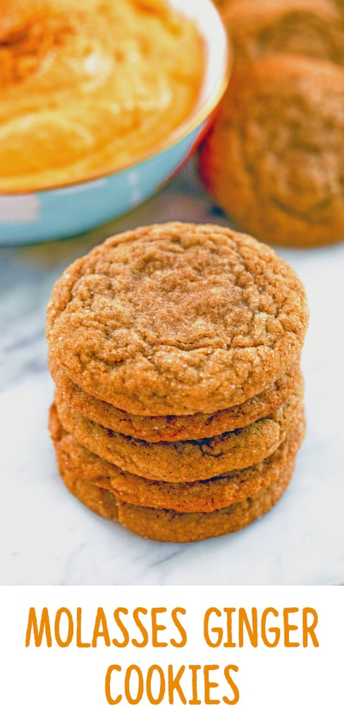 Molasses Ginger Cookies -- These Molasses Ginger Cookies are perfectly soft and chewy and packed with fall flavor. If you love Starbucks' molasses cookies, you'll love these, too! And if you're bringing these cookies to a party, be sure to make the Sweet Pumpkin Dip for the perfect cookie accompaniment | wearenotmartha.com #cookies #molasses #molassescookies #gingercookies #fall #starbucks