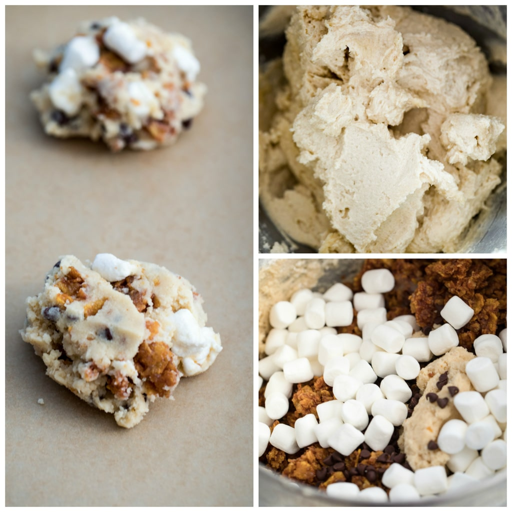 Collage showing Momofuku Milk Bar Cornflake Chip Marshmallow Cookie batter in various stages, including cookie dough formed on parchment paper-lined baking sheet