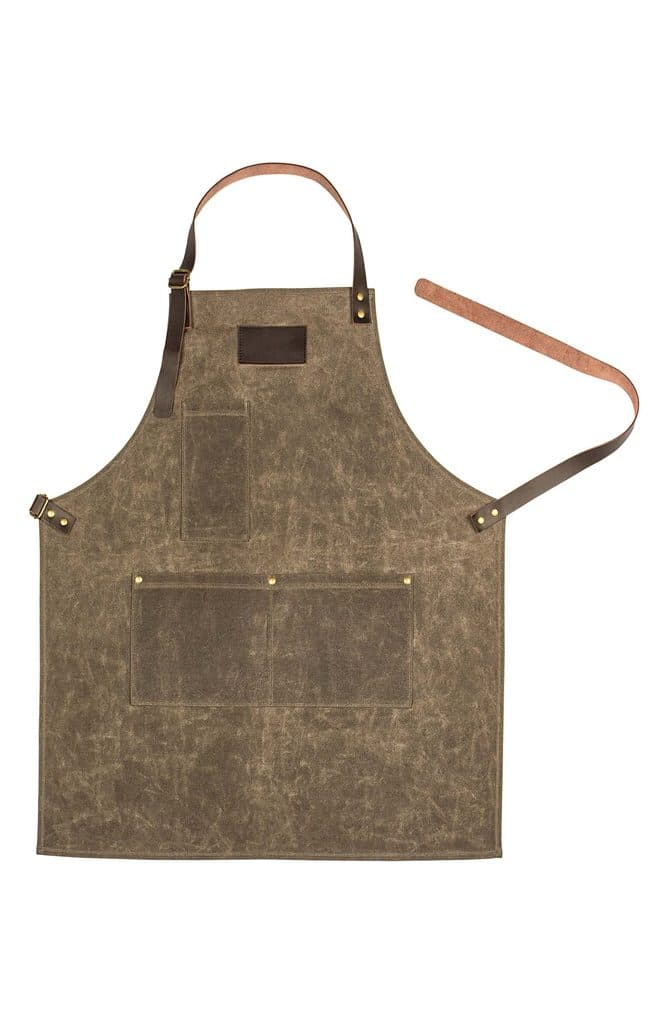 Head-on view of waxed canvas and leather apron