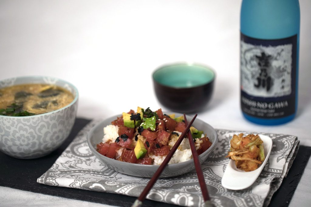 Morimoto's Mastering the Art of Japanese Home Cooking -- Hawaiian Poke-Style Tuna Rice Bowls from Morimoto's cookbook | wearenotmartha.com