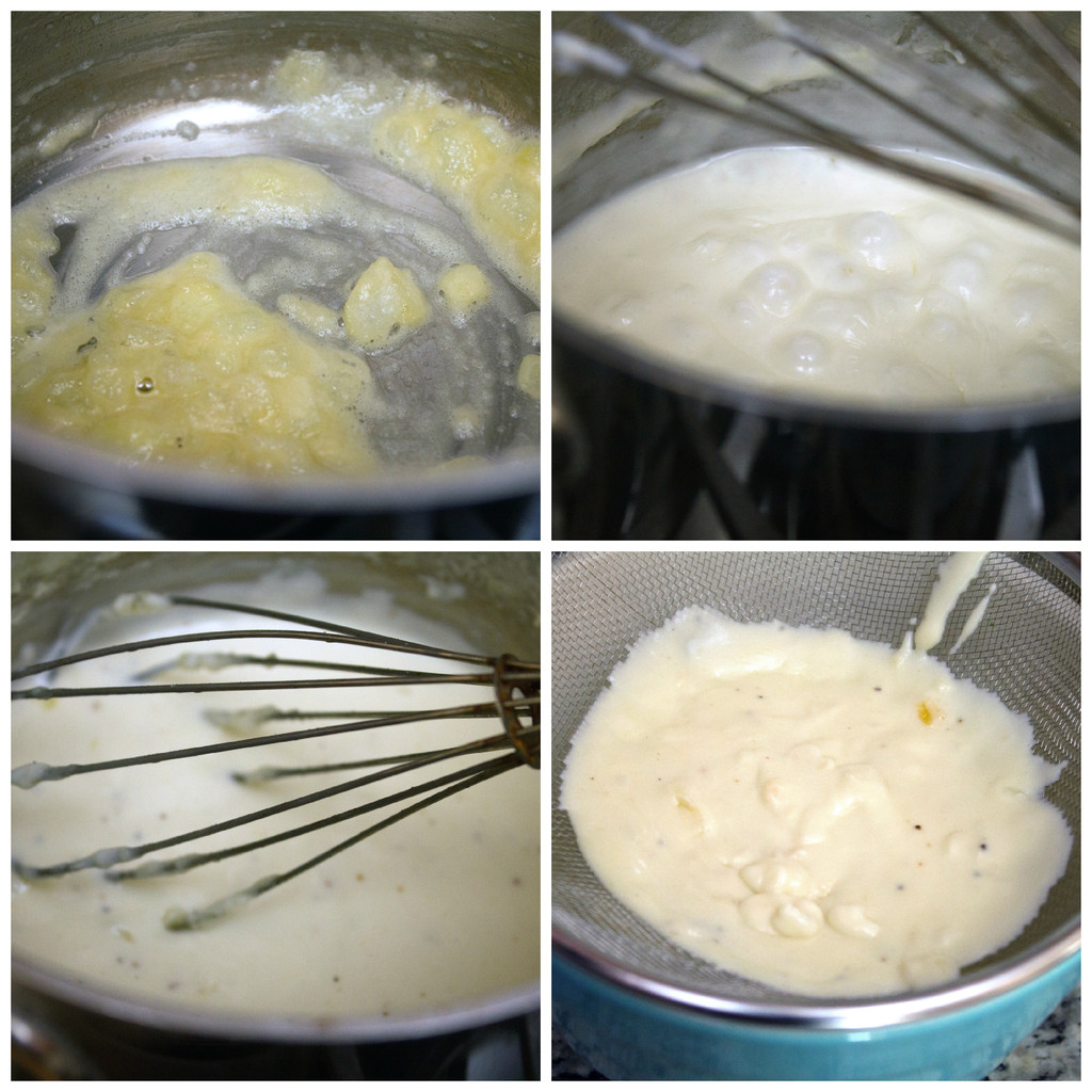 Collage showing process for making mornay sauce, including roux in saucepan, sauce cooking in pan, sauce thickening in pan, and sauce being strained into bowl