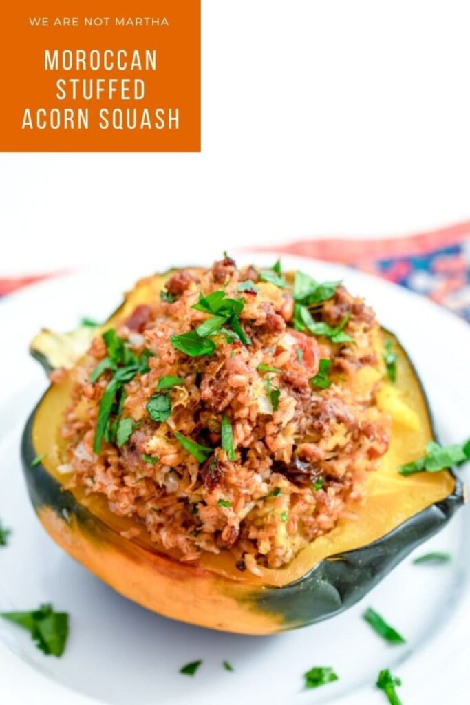 Moroccan Squash- This Moroccan Stuffed Acorn Squash is easy to make and cozy fall comfort food! | wearenotmartha.com #acornsquash #moroccansquash #moroccan #squashrecipes