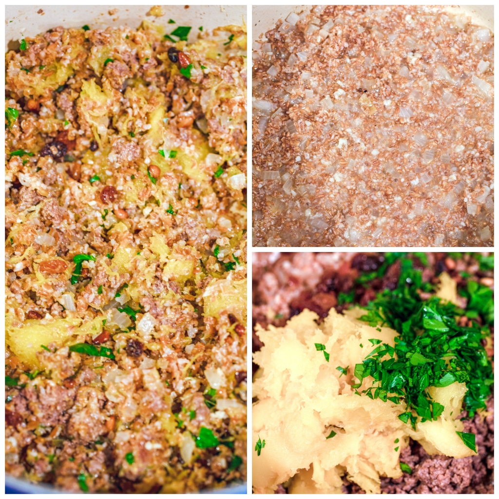 Collage showing process for making moroccan-style stuffed acorn squash, including bulgur and onions cooking in dutch oven; squash, beef, and parsley being mixed into bulgur; and filling all mixed together in dutch oven