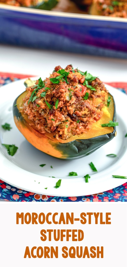Moroccan-Style Stuffed Acorn Squash -- If you're looking for the kind of comfort food that's both hearty and healthy, this Moroccan-Style Stuffed Acorn Squash is the perfect cold weather dinner for you | wearenotmartha.com #squash #acornsquash #stuffedsquash