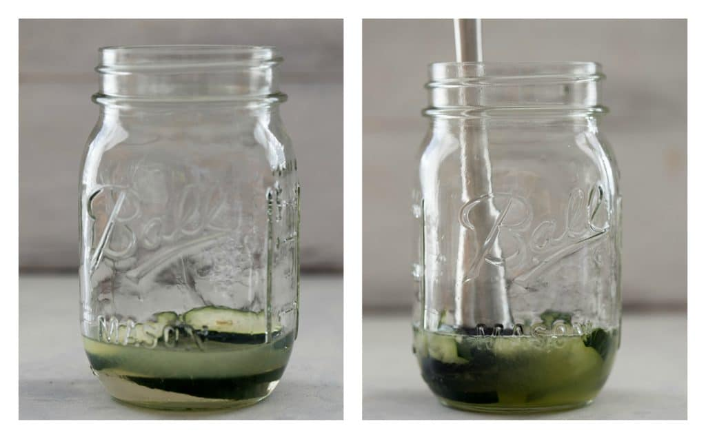 Collage with one photo showing cucumber slices, lemon juice, and simple syrup at the bottom of a mason jar and one photo showing ingredients being muddled in the bottom of the jar