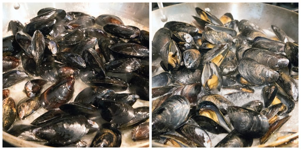 Sparkling Wine Mussels steaming for Mussel Crostini -- The perfect party appetizer   wearenotmartha.com