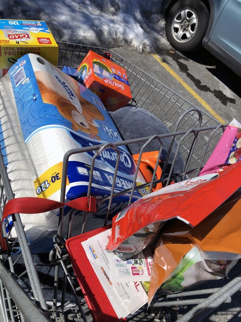 My grocery cart after leaving BJ's Wholesale Club, with toilet paper, trash bags, Bounce, and dog treats and a bed