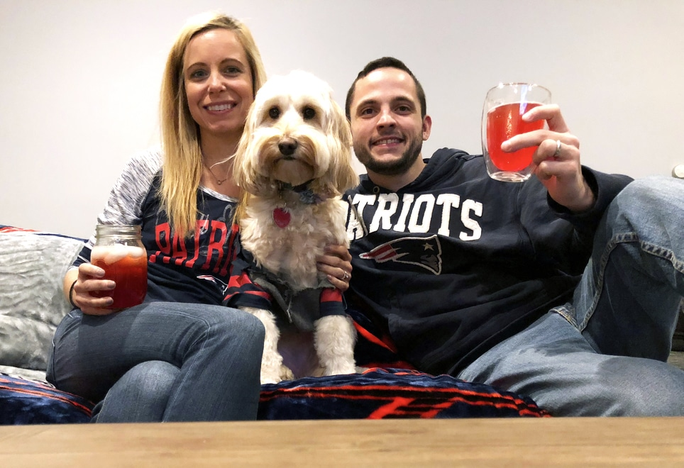 Sues, Chris, and Winnie at the NFL Homegate party for the New England Patriots