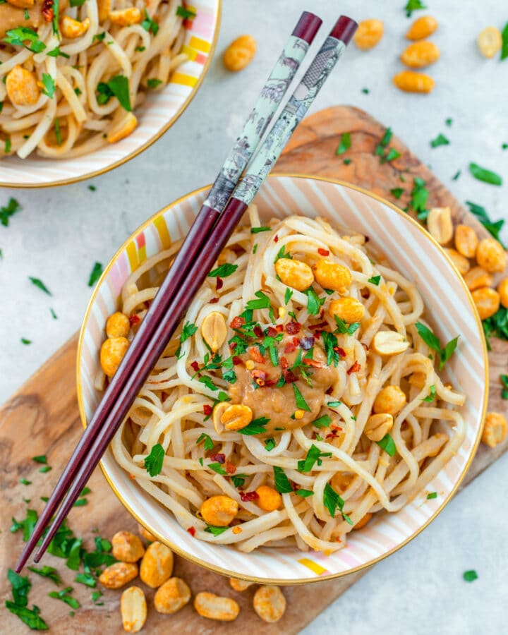 Noodles with Peanut Sauce -- Looking for a ridiculously quick and easy dinner that's packed with flavor? These Noodles with Peanut Sauce are seriously delicious and can be ready in minutes. The recipe serves two, but can easily be doubled or tripled | wearenotmartha.com #noodles #peanutsauce #easydinners #quick
