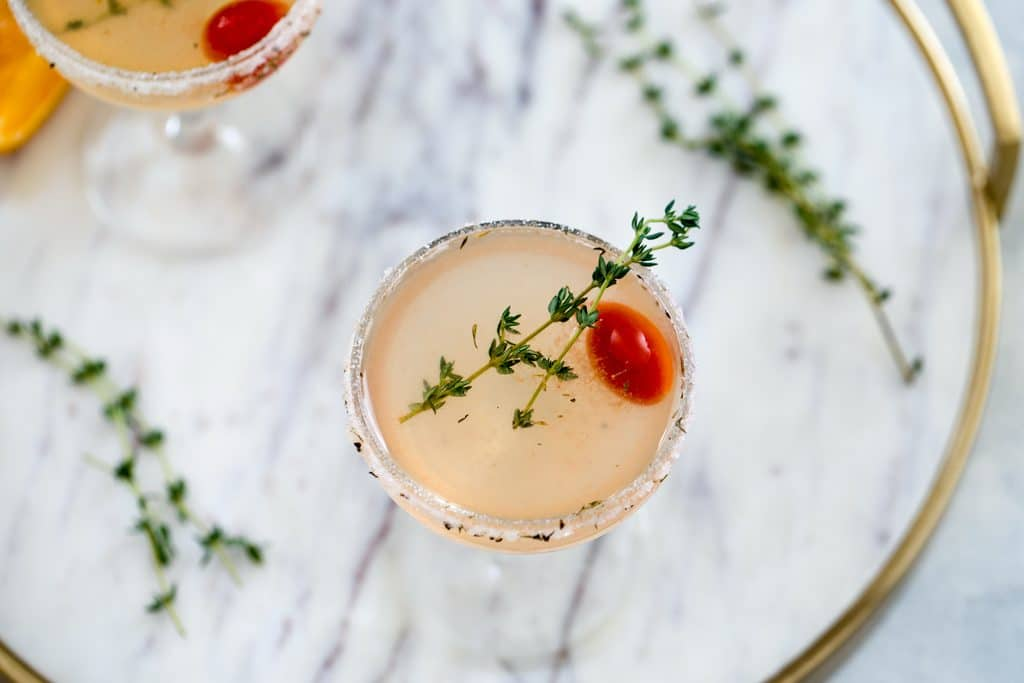 North End Margarita-- This margarita was inspired by the city of Boston and involves muddled tomato and a lemon/thyme/pepper citrus salt rim | wearenotmartha.com