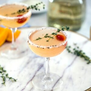 North End Margarita-- This margarita was inspired by the city of Boston and involves a muddled tomato and a lemon/thyme/pepper citrus salt rim | wearenotmartha.com