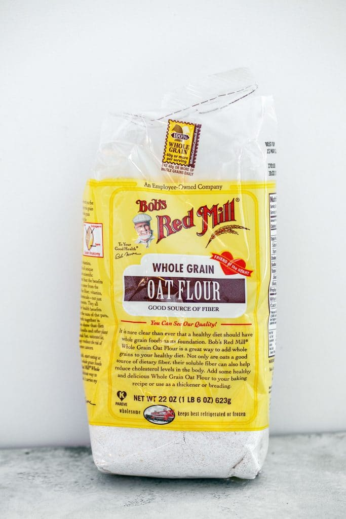 Head-on view of a bag of Bob's Red Mill Oat Flour