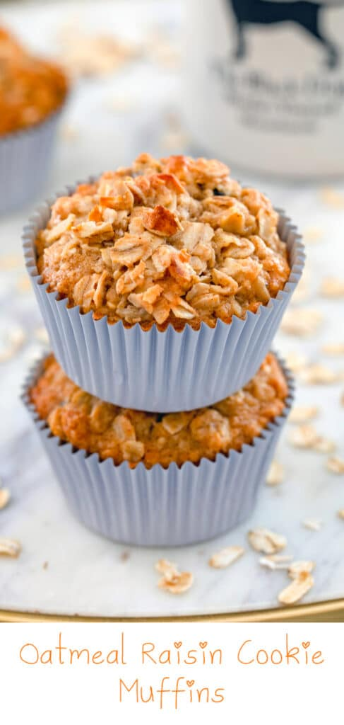 Oatmeal Raisin Cookie Cupcakes -- Are they cupcakes or muffins? These Oatmeal Raisin Cookie Muffins aren't topped with frosting, so I'm calling them muffins and giving you full permission to eat them for breakfast!   wearenotmartha.com #muffins #oatmealcookies #oatmealraisin #grabandgo