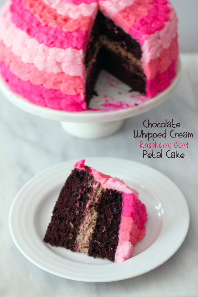 Chocolate Whipped Cream Raspberry Curd Petal Cake | wearenotmartha.com