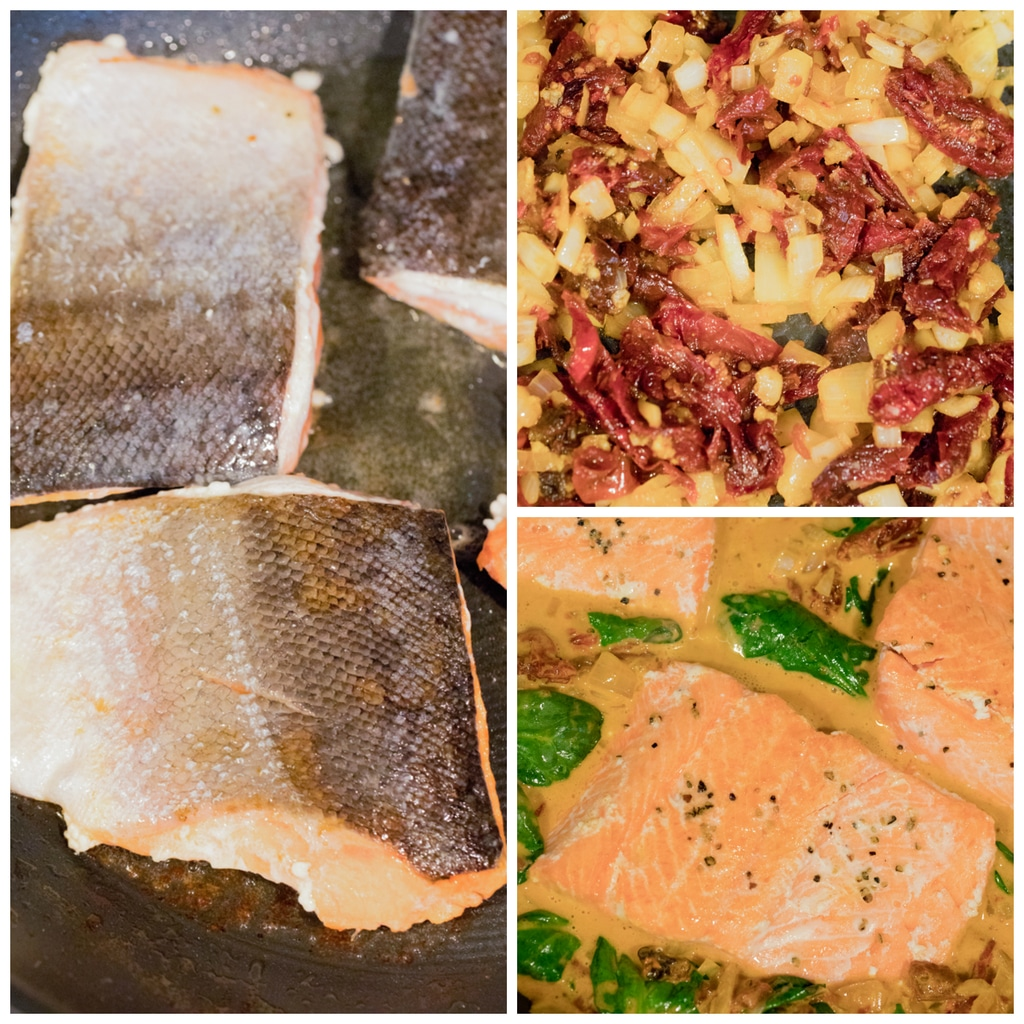 Collage showing the steps for making One-Pan Creamy Chipotle Salmon