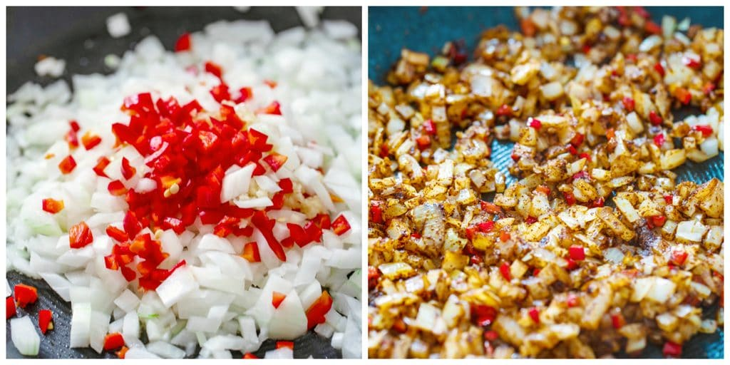 Collage showing one photo with onions, chili peppers, and garlic in pan and second photo with onions, chili peppers, and garlic with spices and browned in pan