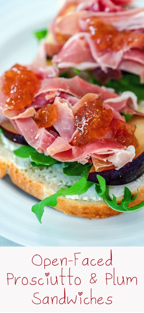 Open-Faced Prosciutto and Plum Sandwiches -- These Open-Faced Prosciutto and Plum Sandwiches make for an incredibly easy, light, and seasonal summer dinner that is likely just what the doctor ordered | wearenotmartha.com #prosciutto #plums #sandwiches #summer