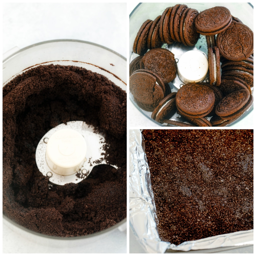 Collage showing process for making chocolate cookie crust for candy cane cookie dough bars, including Oreo cookies in food processor, Oreo cookie crumbs in food processor, and cookie crumbs pressed into the bottom of a baking pan.