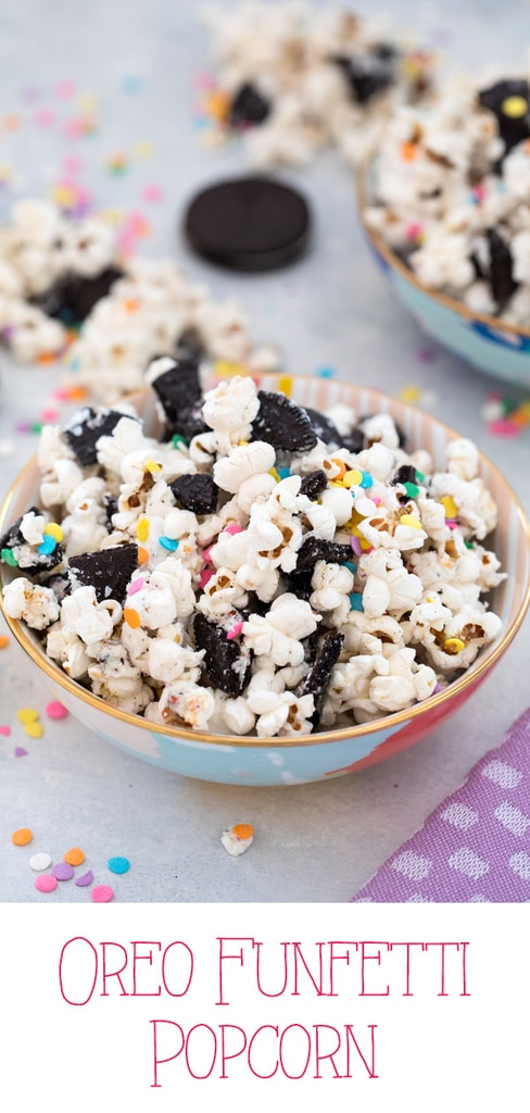 Oreo Funfetti Popcorn -- This dessert popcorn is also known as birthday cake popcorn or party popcorn. Packed with sprinkles and Birthday Cake Oreo Cookies, it's a quick and easy dessert perfect for bringing to parties! | wearenotmartha.com #popcorn #funfetti #oreos #party