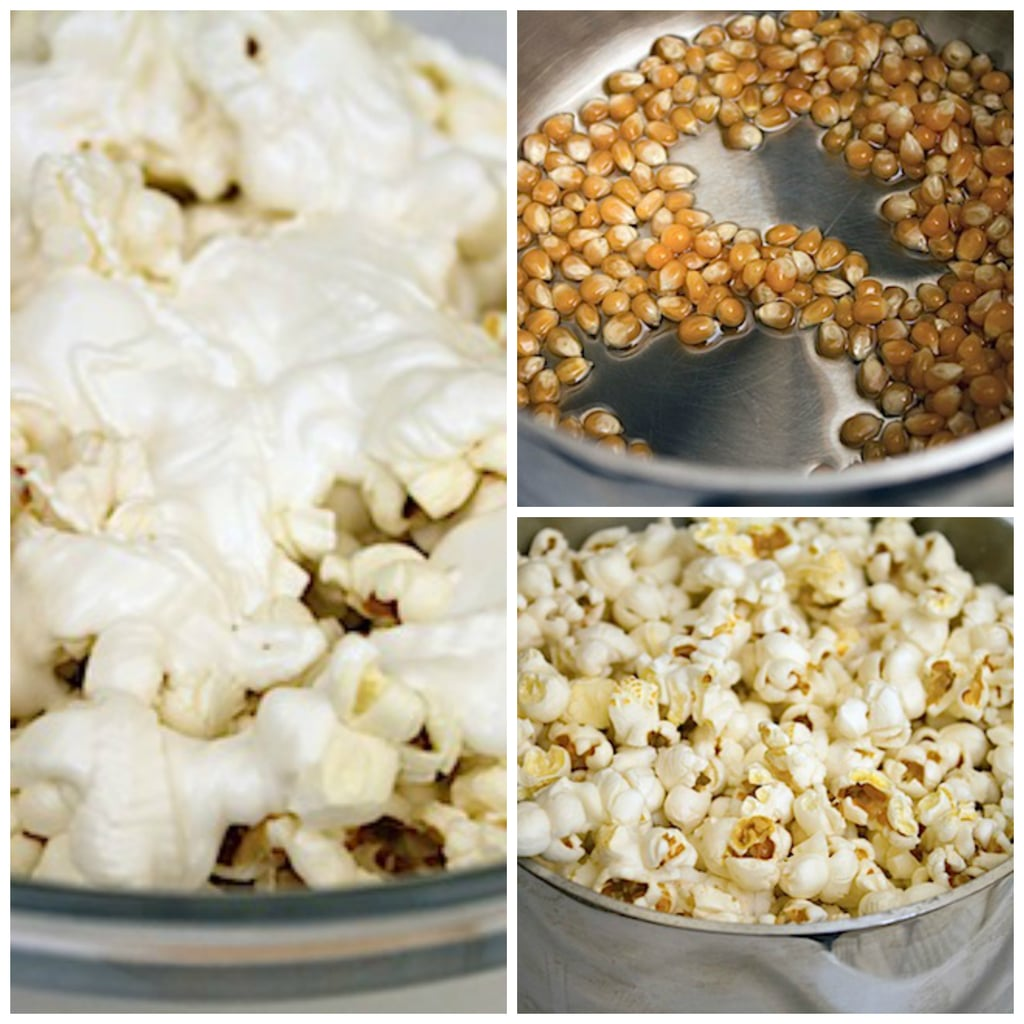 Collage showing candy melts poured on popcorn, popcorn kernels in oil in saucepan, and popcorn freshly popped