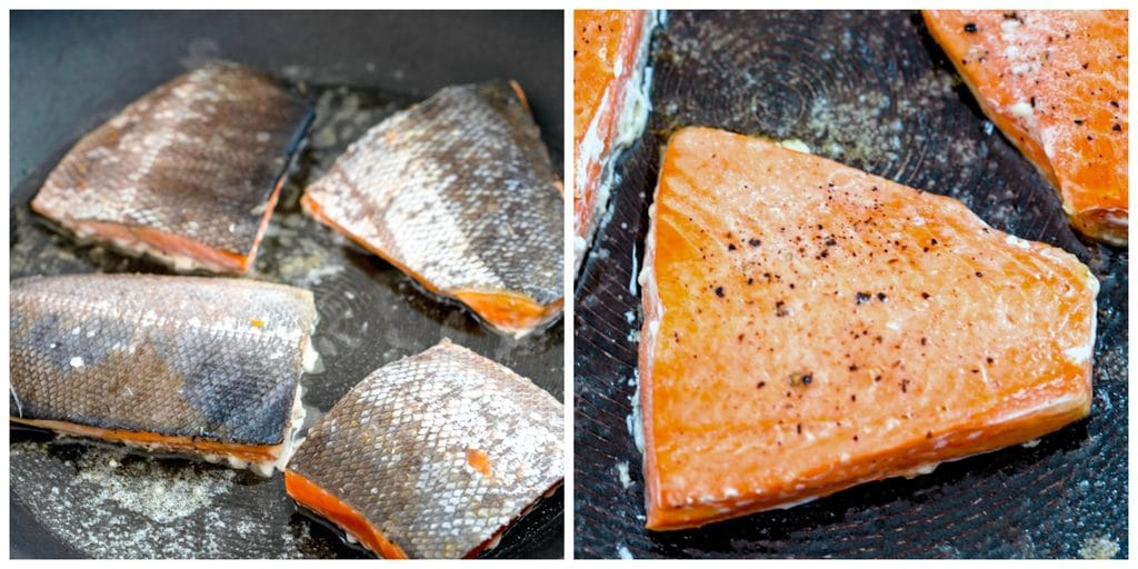 Collage showing salmon being pan seared, first skin-side up and then skin-side down