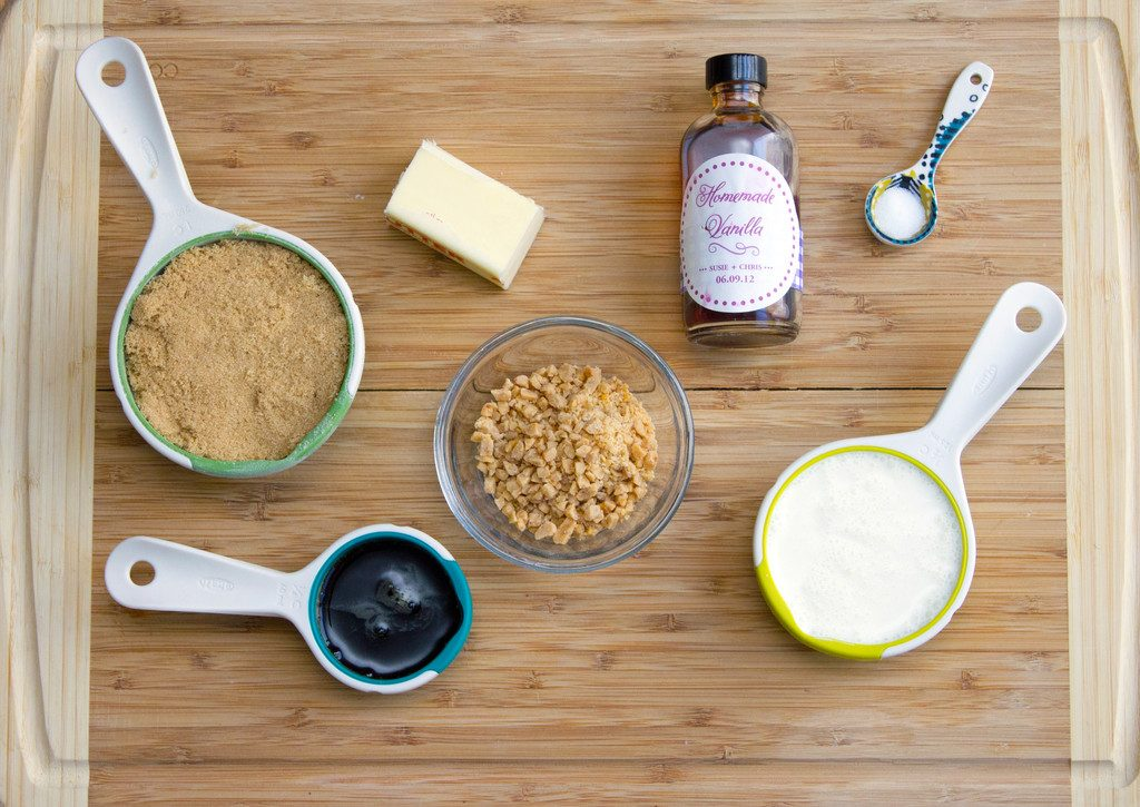 Flat lay showing ingredients needed for toffee sauce