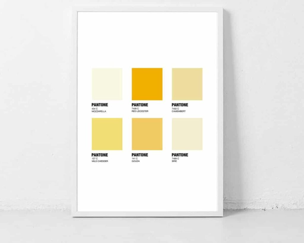 Pantone cheese print in frame