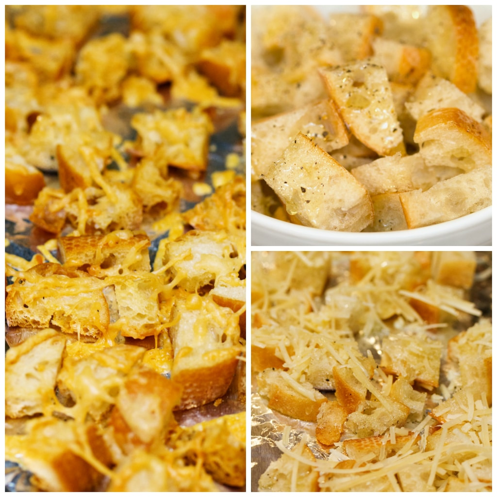 Collage showing process for making parmesan croutons, including cubed bread soaked in olive oil, bread on a foil-lined baking sheet mixed with parmesan cheese, and croutons with parmesan out of the oven and crispy on baking sheet