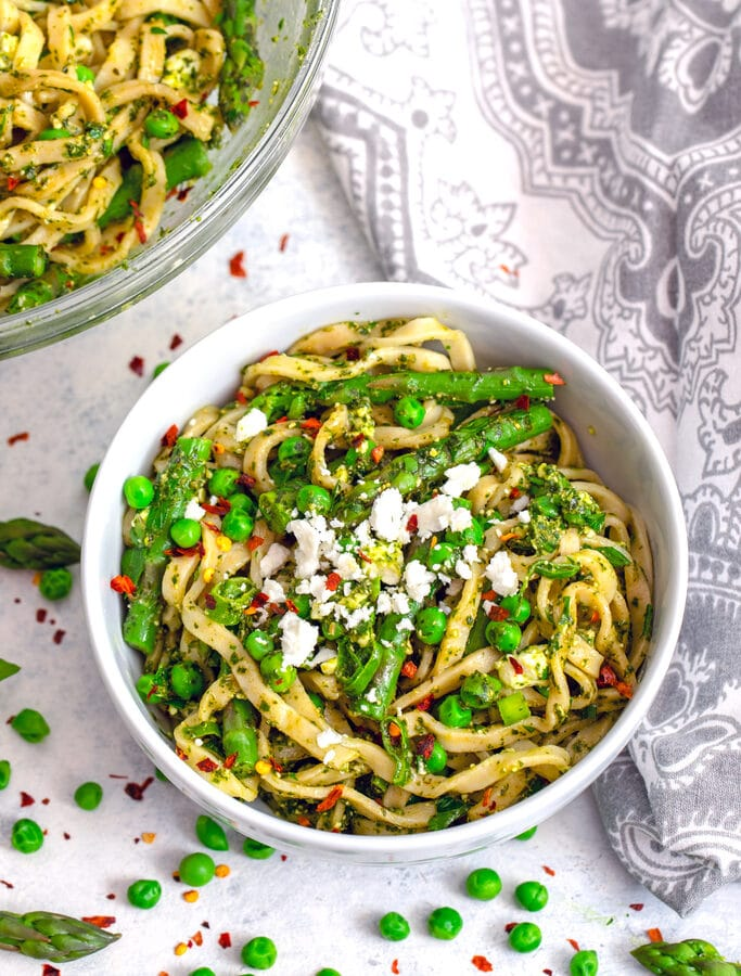 Pasta with Green Vegetables, Herbs, and Feta -- Wondering what to do with that plethora of summer herbs in your garden? Make this Pasta with Green Vegetables, Herbs, and Feta for the ultimate summer pasta dinner! | wearenotmartha.com