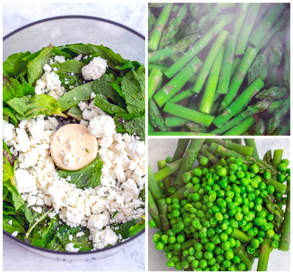 Collage showing process for making pasta with green vegetables and herbs and basil mint pesto sauce, including asparagus blanching, peas and asparagus in bowl, and basil, mint, feta, and olive oil in food processor bowl