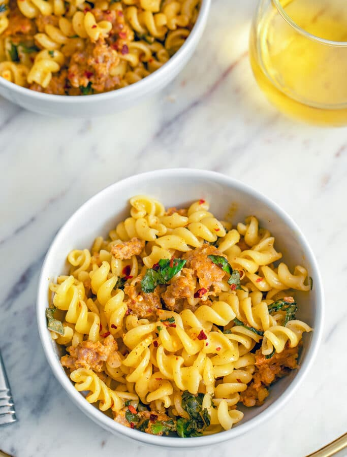 Pasta with Sausage, Basil, and Mustard -- This Pasta with Sausage, Basil, and Mustard has a deliciously satisfying spicy kick and plenty of fresh basil that will get you in the mood for spring and summer | wearenotmartha.com
