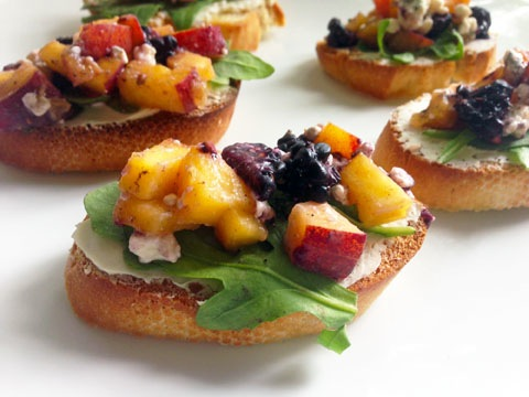 Peach and Blackberry Bruschetta