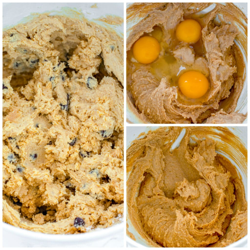 Collage showing process for making batter for peanut butter blondies, including butter, sugar, and peanut butter mixed together; eggs added into batter; and chocolate chips folded into batter