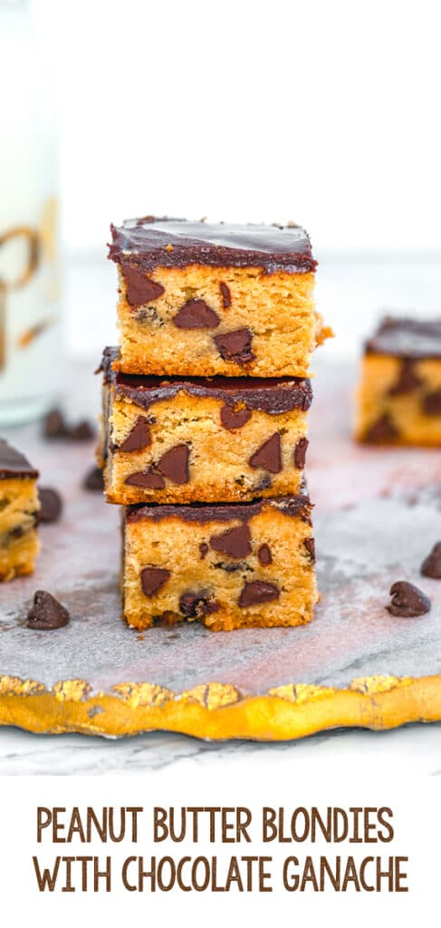 Peanut Butter Blondies with Chocolate Ganache -- These Peanut Butter Blondies are packed with chocolate chips and covered in a rich chocolate ganache for a dessert bar that's better than a brownie! | wearenotmartha.com