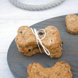 Peanut Butter Cheddar Dog Bones -- These peanut butter dog bones were created especially for our furry friends and are treats made with real ingredients, like peanut butter, cheddar cheese, and blueberries, so you can feel good about feeding them to your pup | wearenotmartha.com