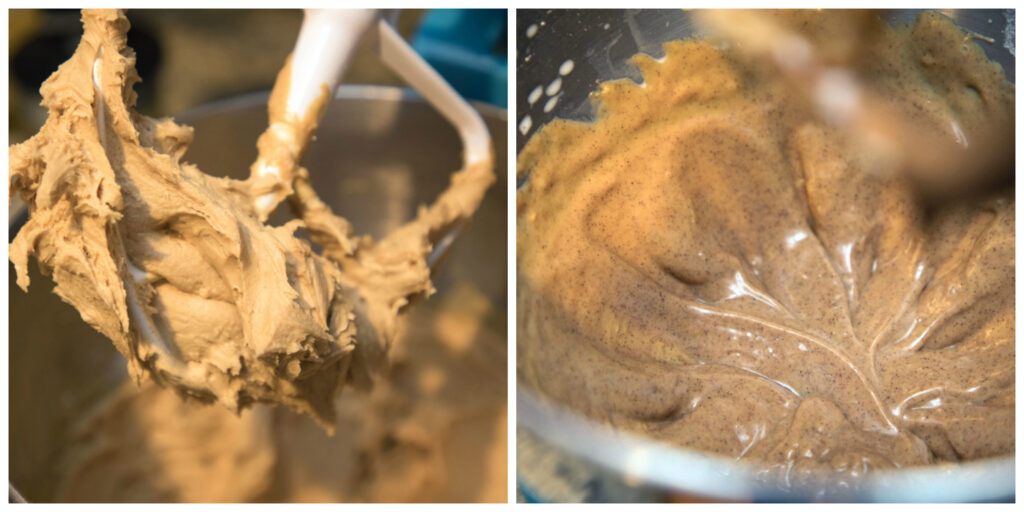 One photo of peanut butter cream filling being made in mixer and one photo of peanut butter cinnamon glaze in bowl.