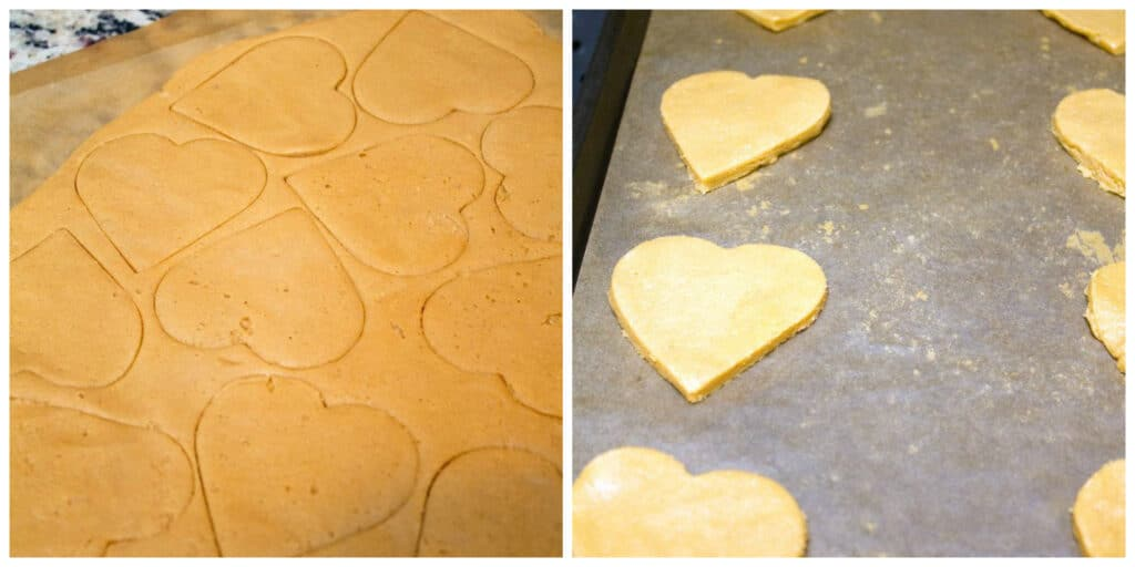 One photo showing hearts being cut out of peanut butter cookie dough and another showing heart cookies on a baking sheet ready to go into oven