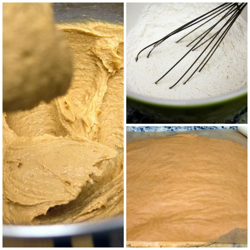 Collage showing process for making dough for peanut butter heart cookies, including flour mixture, creamy peanut butter batter, and dough being rolled between parchment paper