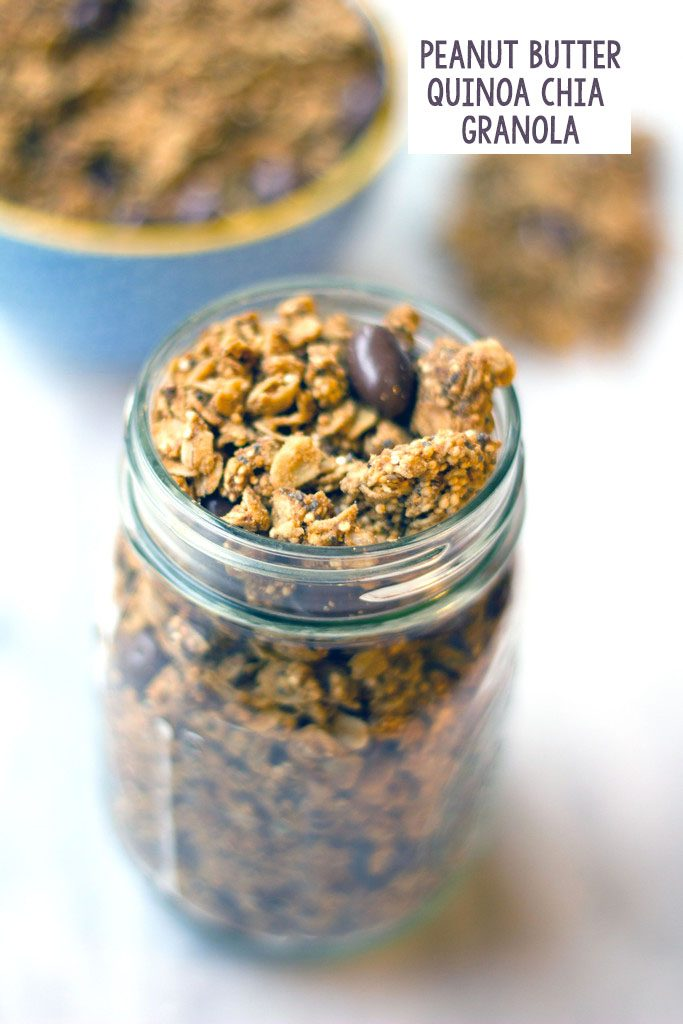 Overhead view of a mason jar filled with peanut butter granola with quinoa, chia seeds, and chocolate-covered raisins with bowl of granola in background and recipe title at top