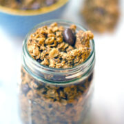 Peanut Butter Quinoa Chia Granola -- This tasty Peanut Butter Quinoa Chia Granola is the perfect mix of sweet and healthy. Peanut butter and chocolate-covered raisins are balanced out by a nutritious mix of oats, quinoa, and chia seeds   wearenotmartha.com
