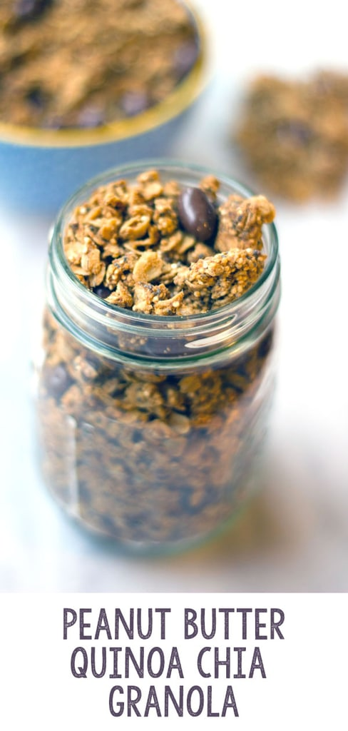Peanut Butter Quinoa Chia Granola -- This tasty peanut butter granola is the perfect mix of sweet and healthy. Peanut butter and chocolate-covered raisins are balanced out by a nutritious mix of oats, quinoa, and chia seeds | wearenotmartha.com #granola #quinoa #chiaseeds #peanutbutter #breakfast