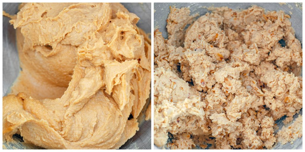 Collage showing process for making peanut butter sandwich cookie cookie dough, including peanut butter and butter blended together and dough with flour and oats blended
