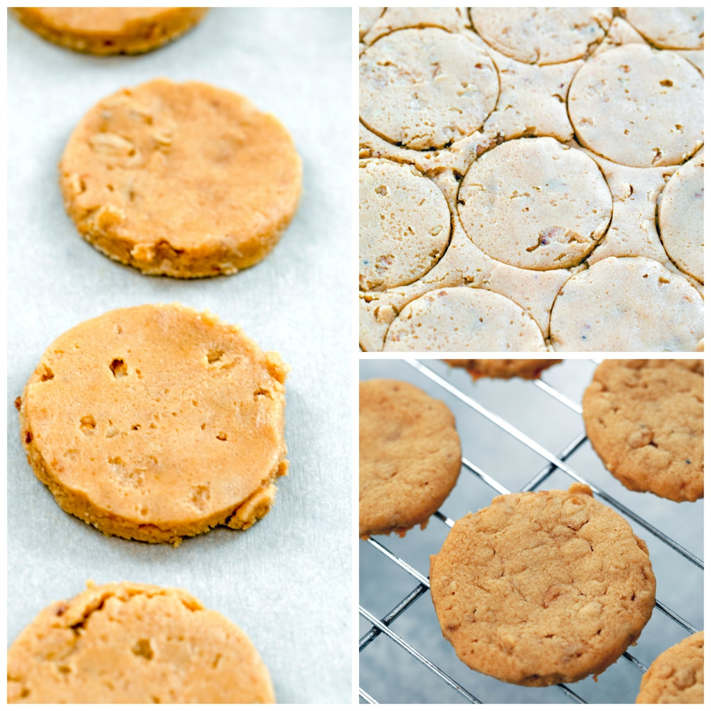 Collage showing process for making peanut butter sandwich cookies, including dough rolled out with rounds cut from it, cookie dough rounds sitting on parchment paper, and baked cookies on cooling rack